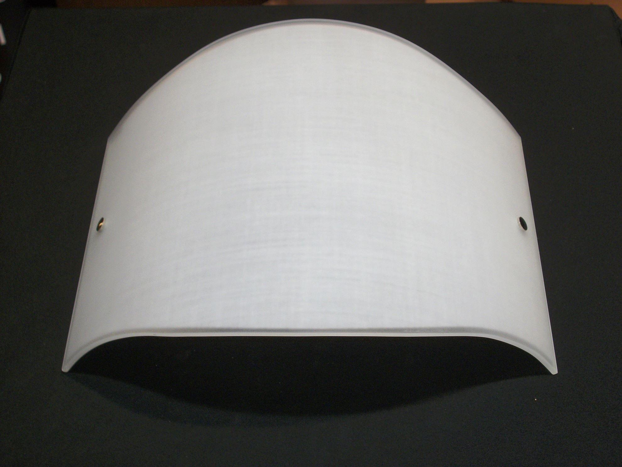 Applique a parete in vetro bianco decorato tipo tessuto con