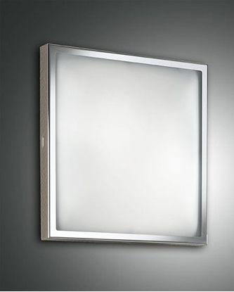 Picture of Applique A Parete O Soffitto Quadrato Con Cornice Cromata E Vetro Satinato