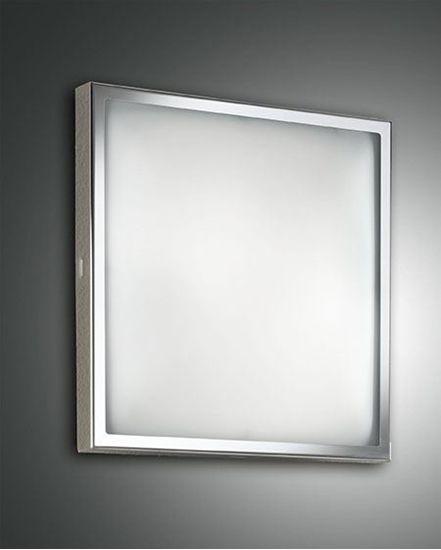 Immagine di Applique A Parete O Soffitto Quadrato Con Cornice Cromata E Vetro Satinato