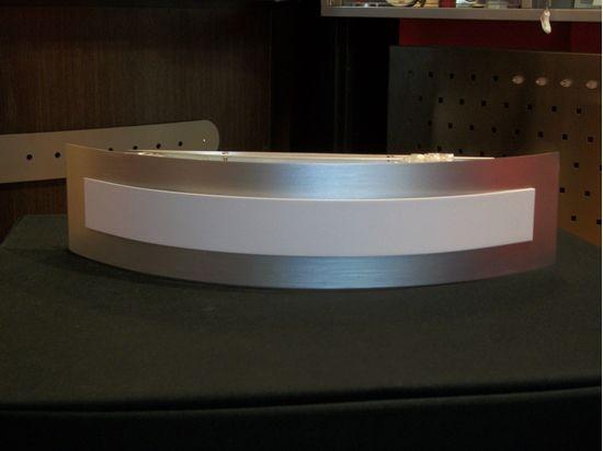 Applique per interni a parete in acciaio satinato e bianco bime