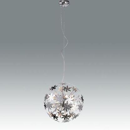 Immagine di Lampada A Sospensione Per Interni A Forma Di Sfera In Metallo Cromato