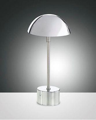 Picture of Lampada Da Tavolo In Metallo Cromato Con Cappello Tondo