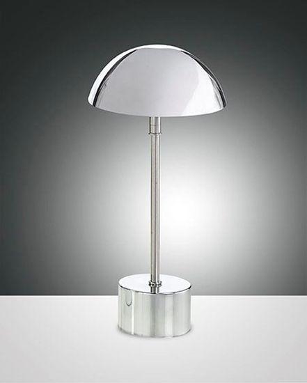 Immagine di Lampada Da Tavolo In Metallo Cromato Con Cappello Tondo