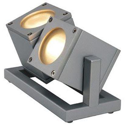 Immagine di Lampada Da Terra Per Esterno Con Struttura Grigio Argento E Diffusori Cubici