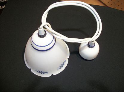 Immagine di Sospensione In Ceramica E Vetro Decorato A Mano Blu