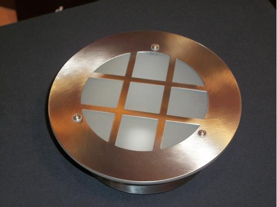 Applique a parete per esterno in acciaio inox e diffusore vetro
