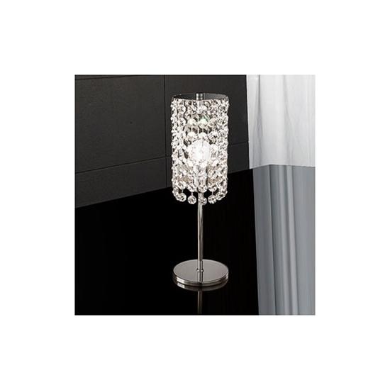 Lampada Da Tavolo Con Pendenti In Cristallo E Particolari Cromati Bime Ingrosso E Dettaglio Materiale Elettrico