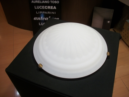 Picture of Plafoniera A Soffitto In Vetro Bianco Con Fermavetro Color Bronzo