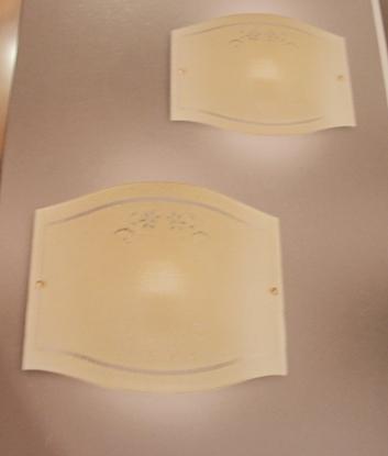 Immagine di Applique A Parete In Vetro Ambra Liscio Con Fermavetro Oro