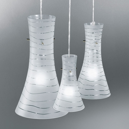 Immagine di Lampada A Sospensione In Vetro Bianco Satinato E Fili Trasparenti