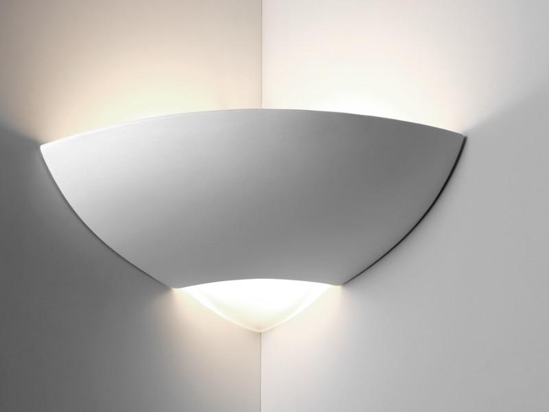 Applique da parete in gesso e vetro angolare bime - Applique in gesso da parete ...