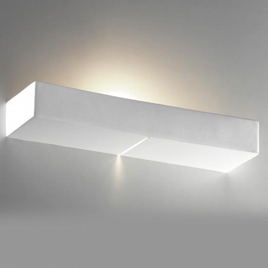 Applique a parete da interni rettangolare in gesso bime ingrosso e dettaglio materiale elettrico - Applique in gesso da parete ...