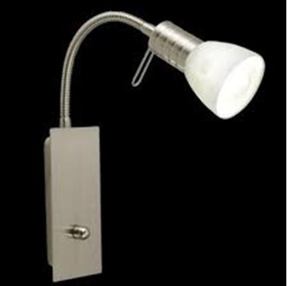 Immagine di Applique Da Parete Per Internocon Base In Acciaio Inox E Spot Orentabile In Vetro Sfumato Bianco Eglo -86428-