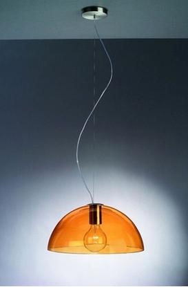Immagine di Sospensione Per Interno In Vetro Arancione A Cupola