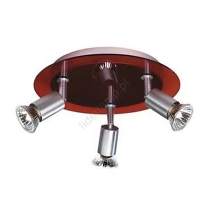 Immagine di Plafoniera Con Tre Spot Orientabili Base Vetro Rosso
