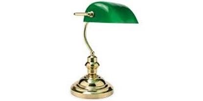 Immagine di Lampada Da Tavolo Con Struttura Ottone E Diffusore Verde