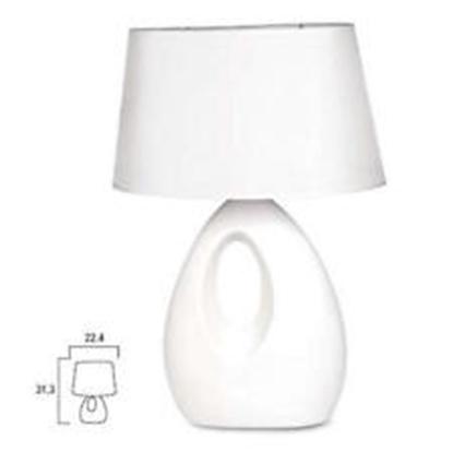 Picture of Lampada Da Tavolo In Ceramica Con Paralume In Tessuto Per Interno -p970140b-