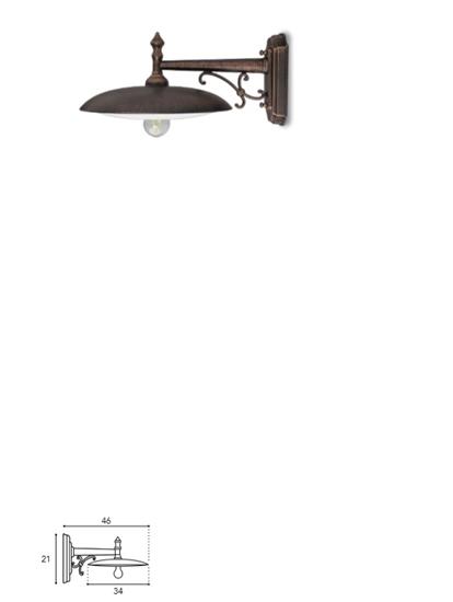 Picture of Applique A Parete In Alluminio Verniciato Nero Ramato -910.6-