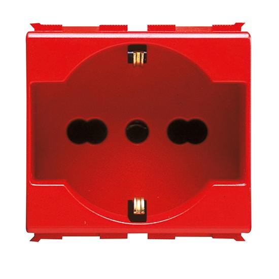 Immagine di Presa Standar Italiano/tedesco  250v Ac Per Linee Dedicate 2p+t 16a Bivalente P40 2 Moduli Rossa Playbus -30214-