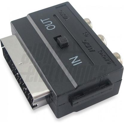 Immagine di Adattatore Con Deviatore In/out Da Spina Scart A 3 Prese Rca -92250-