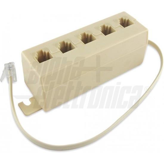 Immagine di Adattatori Telefonici Modulari  6p4c Da 1 Spina A 5 Prese  -94-450-