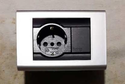 Picture of Placca Living Classic 1 Modulo + 1 Presa Schuko Alluminio -4750al-