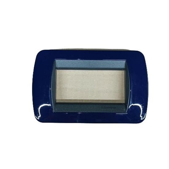Immagine di Placca Living International Di Transizione 3 Moduli Blu Solid -l4863bd-